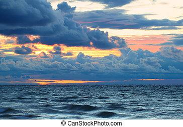 Sunset over Lake Superior Waves - Sunset over crashing waves...