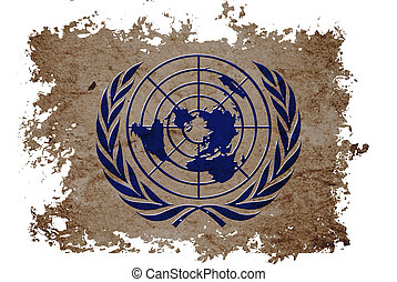 United Nation or UN flag on old vintage paper in isolated...