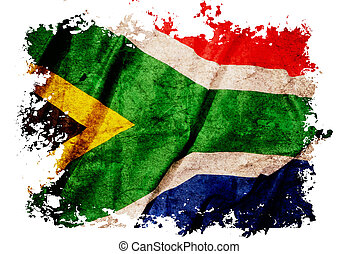 South Africa flag on old vintage paper, can be use for...