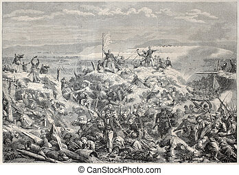 The taking of Malakoff - Old illustration of the taking of...