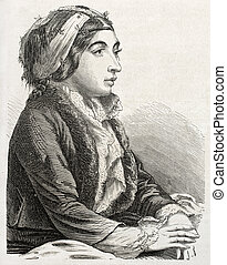 Turkish woman - Old engraved portrait of Turkish woman in...