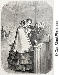 Attending church service - Old illustration of American...