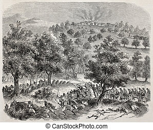Kabylie expedition - Old illustration of battle between...