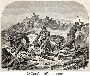 Last will - Old illustration of dying soldier giving his...