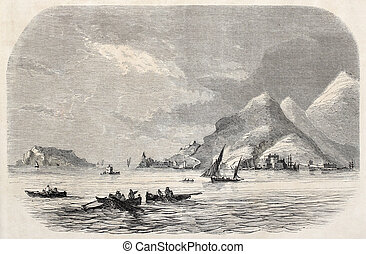 Gulf of La Spezia - Old illustration of Gulf of La Spezia...