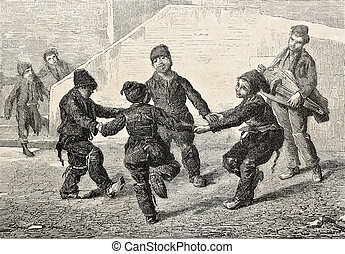 Ring-a-ring - Old illustration of Chimney sweeps playing...