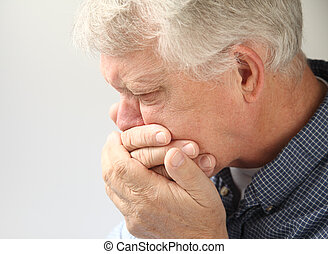 nauseated senior man - an older man getting ready to vomit