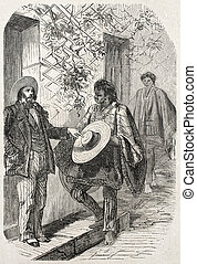 Panama hat seller - Old illustration of Panama hat Moyobamba...