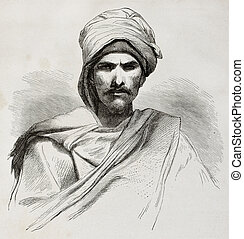 Bedouin bis - Old engraved portrait of a Bedouin. Created by...