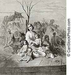 Refugees in Shanghai - Old illustration of Chinese villagers...