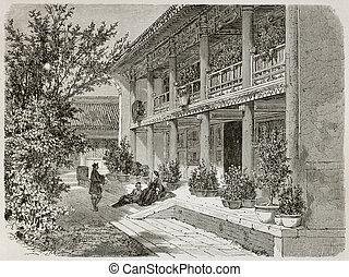 Verandah - Old illustration of British Legation Verandah in...