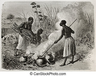 Beer production - Old illustration of beer making in...