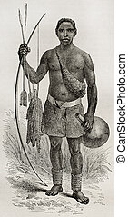 Ouzinza native - Old illustration of native of the Ouzinza...