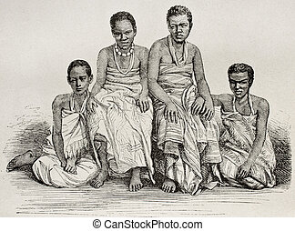Ugandan women - Old illustration of Ugandan women. By...