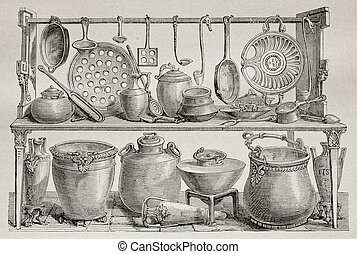 Bronze pottery - Old illustration of bronze pottery and...