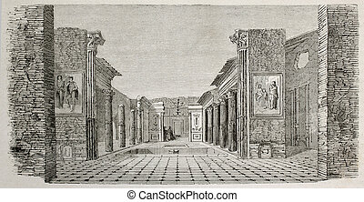 House of Castor and Pollux - Old illustration of perystile...