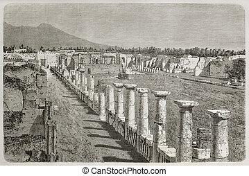 Temple of Venus - Old illustration of Temple of Venus ruins,...