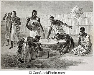 Thirst quenching millet beer - Old illustration of native...