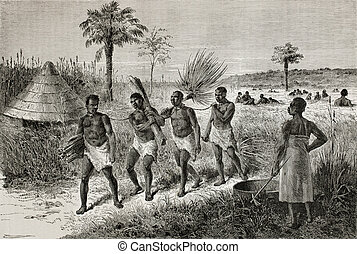 Slaves - Old illustration of slaves in Unyamwezi region,...
