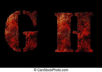 oxidado, vendimia, alfabeto, Cartas
