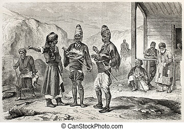 Turkish men - Old scene of Turkish people. Created by...