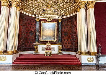 Russian old vintage emperor chair made from gold in palace