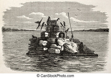 Raft - Old illustration of a natiive Peruvian on a barge...