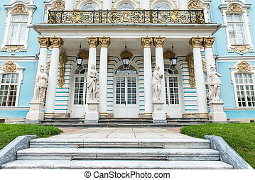 Old vitage Russian palace front view taken on a cloudy day
