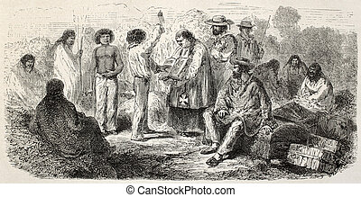 Solemn oath - Old illustration of a man taking a solemn...