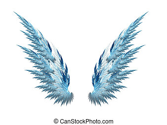 Blue angel wings white background - Blue angel wings made...