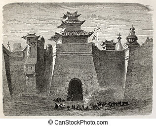 Beijing gate - Old illustration of Beijing walls and gate....
