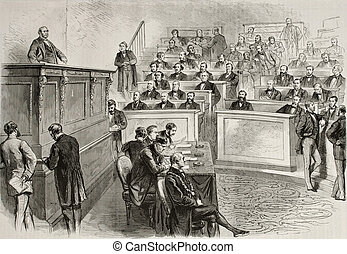 Parliament session - Old illustration of Eugene Rouher...