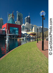 darling harbour in sydney - modern buildings near darling...