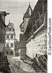Bastion passage - Old illustration of alley next to the...