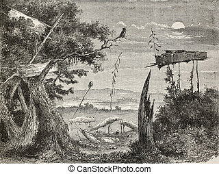 Sioux graveyard - Old illustration of a Sioux graveyard in...