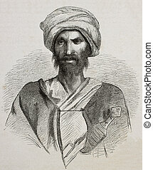 Bedouin - Antique illustration of a Bedouin from Sinai...