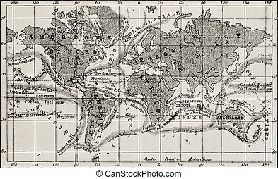 Ocean currents map - Antique global ocean currents French...