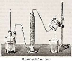 Synthesis of water - Old illustration of water synthesis by...