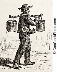French water bearer - Antique illustration of French water...