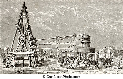 Drilling artesian well - Antique illustration of drilling...