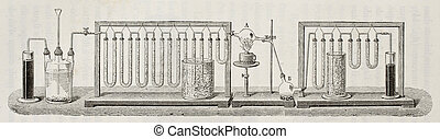 Dumas experiment - Scheme for experimental determination of...