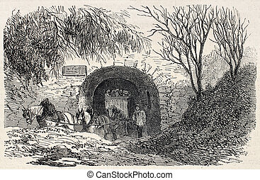 Quarries entrance - Old illustration of Buttes Chaumont...