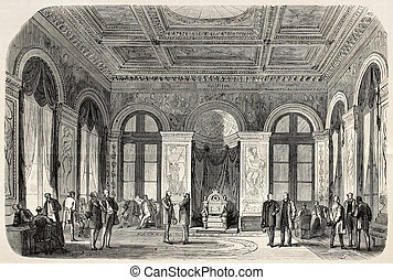 Throne hall - Old illustration of the Throne hall in Palais...