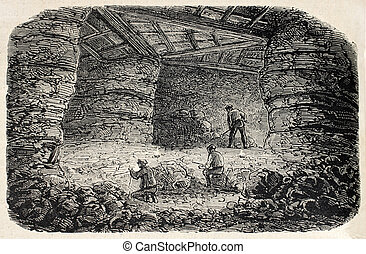 Quarries interior - Old illustration of Buttes Chaumont...