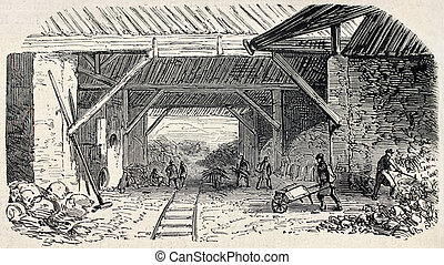 Quarries kilns - Old illustration of Buttes Chaumont...