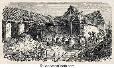 Quarries rails - Old illustration of Buttes Chaumont...