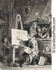 Painter workshop - Old illustration of painter workshop...