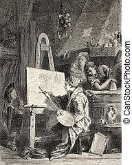 Painter workshop - Old illustration of painter workshop....