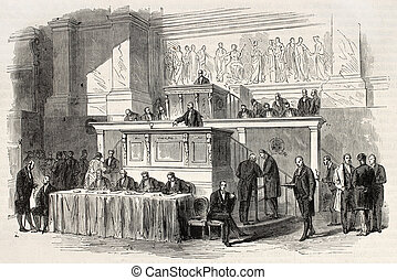 Parliament tribune - Old illustration of French parliament...