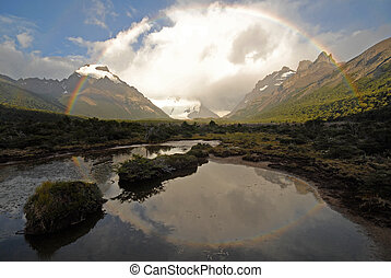 Rainbow in Patagonia. Argentina.